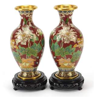 Pair of Chinese cloisonné vases enamelled with