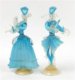 Large pair of Murano glass gold flecked dancers, the