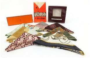 Vintage silk scarves including Hermes Les Voitures,