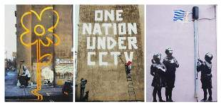 Hugh Sun - Three photographs of Banksy artwork, each