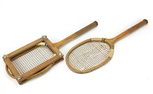 Two early 20th century tennis lawn racquets including