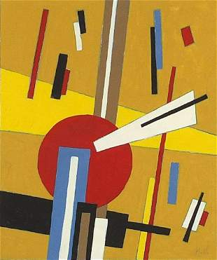 Abstract composition, geometric shapes, Russian school