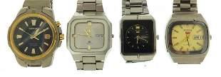 Four vintage Seiko wristwatches including two Seiko 5