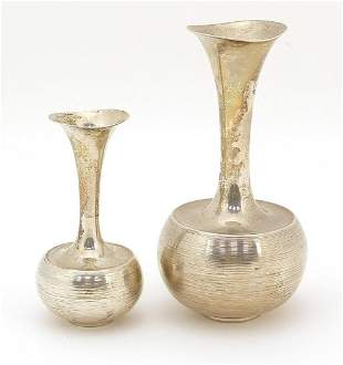 Two Scandinavian design continental silver vases,
