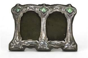 Art Nouveau style sterling silver and enamel double