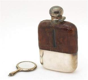 Victorian silver plated, leather and glass hip flask
