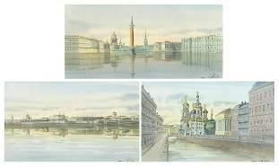 St Petersburg, set of three Russian school heightened