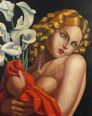 Manner of Tamara de Lempicka - Nude Art Deco female