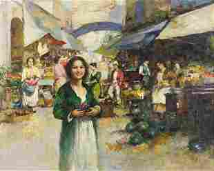 Manner of Pino Daeni - Busy market scene, Italian