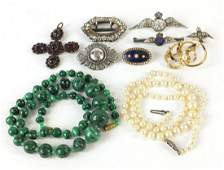 Antique and later jewellery including 9ct gold and