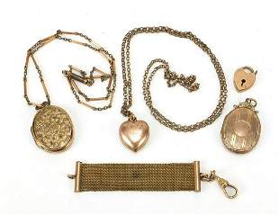 Antique and later gold coloured metal jewellery