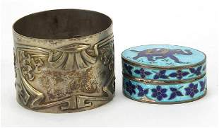 Silver objects comprising Art Nouveau German silver