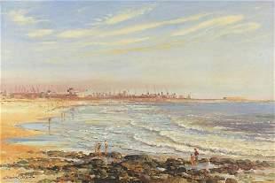 Stewart Titcombe - Port Elizabeth, figures on beach,
