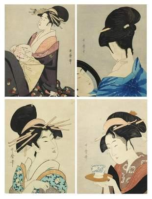 Geisha girls, set of four Japanese wood block prints