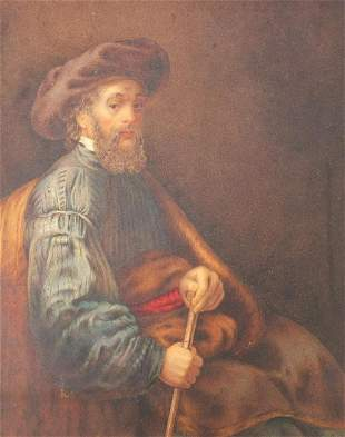 Bearded gentleman seated with walking stick, well