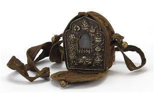 Tibetan embroidered travelling silver mounted shrine