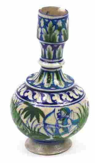 Persian Iznik pottery vase hand painted with two
