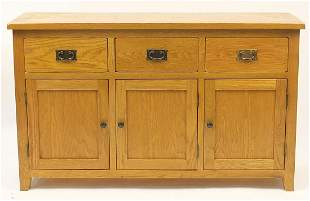 Contemporary light oak sideboard fitted with three