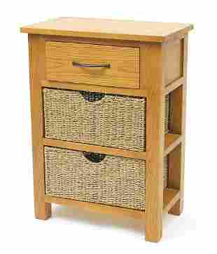 Contemporary light oak side cabinet with frieze drawer