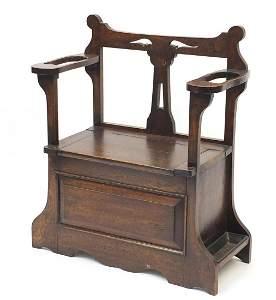 Art Nouveau oak hall seat, 87cm H x 73cm W x 33cm D