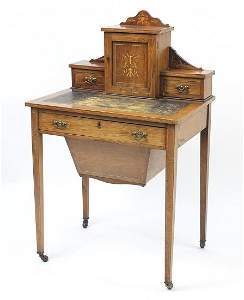 Victorian inlaid rosewood ladies writing table/workbox,