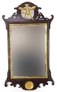 George III partially gilt mahogany wall mirror with