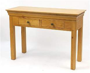 Contemporary light oak hall /side table fitted with two