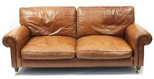 Brown leather two seater settee, 210cm wide