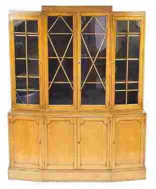 Art Deco oak bookcase fitted with four glazed doors