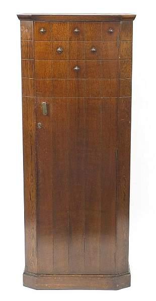 Oak hallrobe with canted corners, 178cm H x 72cm W x