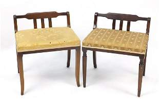 Two upholstered dressing table stools