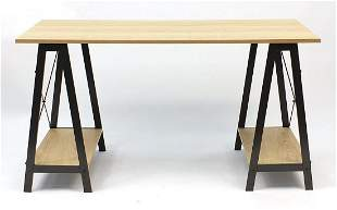 Contemporary twin pedestal table/desk with A frame