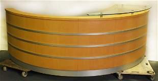 Curved beech and aluminium reception desk, 100cm high x