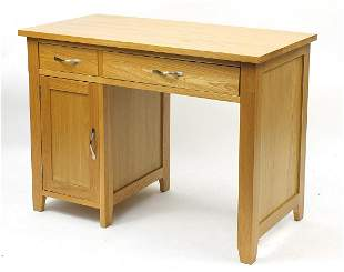 Contemporary light oak desk with two drawers, 80cm H x