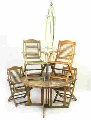 Teak folding garden table with parasol and four chairs