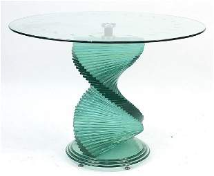 Ravaya, contemporary glass dining table with spiral