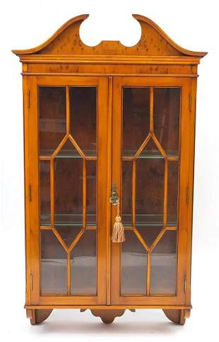 Reprodux yew wood wall hanging display case with