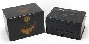 Two Japanese lacquered boxes including one with abalone