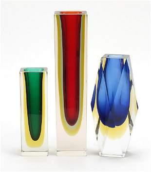 Three Murano Sommerso three colour glass vases, one