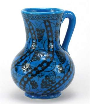 Islamic pottery vase with handle hand painted with