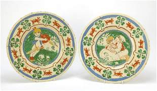 Near pair of Arts & Crafts pottery wall plaques, each