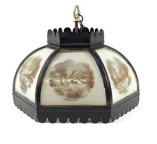 Vintage Currier & Ives light pendant with six glass