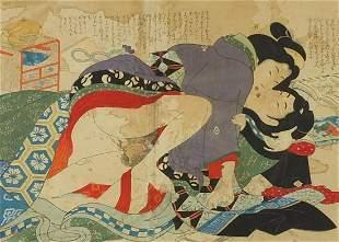 Erotic couple, Japanese woodblock print, mounted,