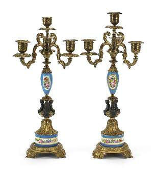 Pair of classical gilt metal and Sevres style four