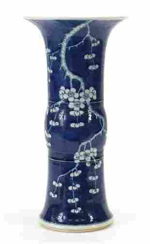 Large Chinese blue and white porcelain Gu beaker vase