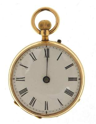 French gold ladies pocket watch with enamel dial, 33mm