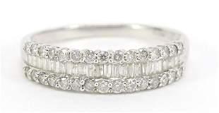 9ct white gold diamond half eternity ring, 1.0 carat in