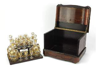 19th century French rosewood marquetry inlaid liquor