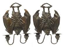 Pair of Art Nouveau design patinated bronze two branch