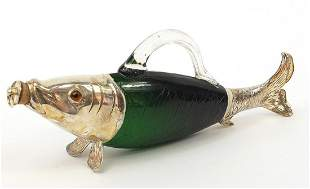 Novelty green glass fish design decanter with silver